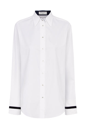 The Oversized Shirt - White & Insignia Cotton - SERENA BUTE