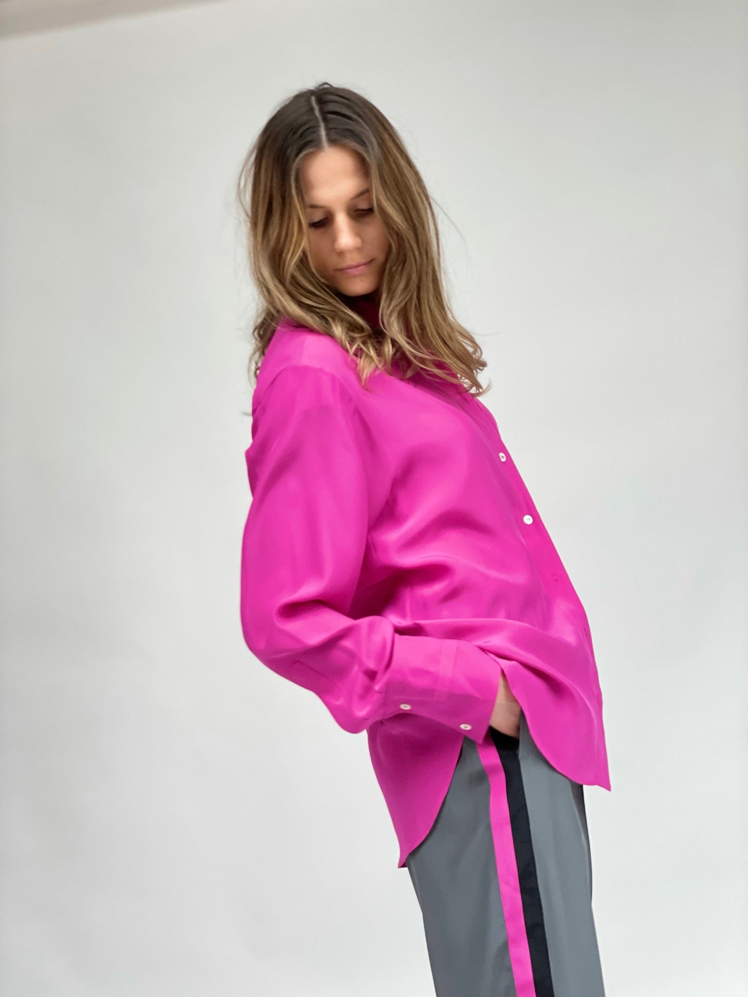 oversized shirt deep pink silk womens serena bute