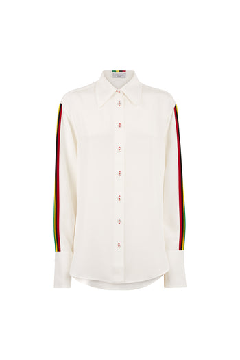 The Oversized Shirt - White & Rasta/Jamaican Silk - SERENA BUTE