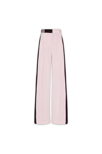 The Serena Trouser - Pale Pink & Black Silk