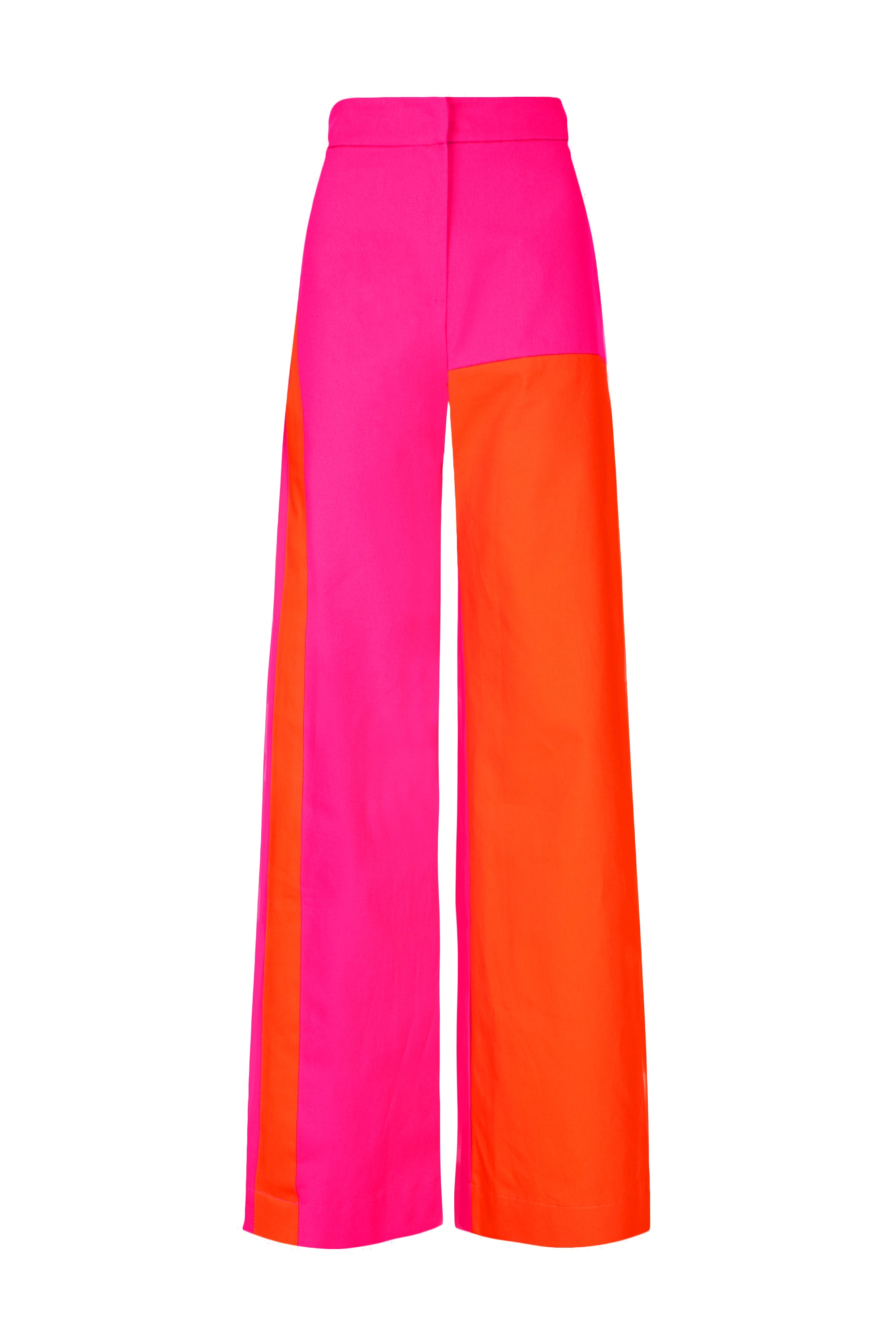 The Colour Block Trouser - Pink & Orange Cotton