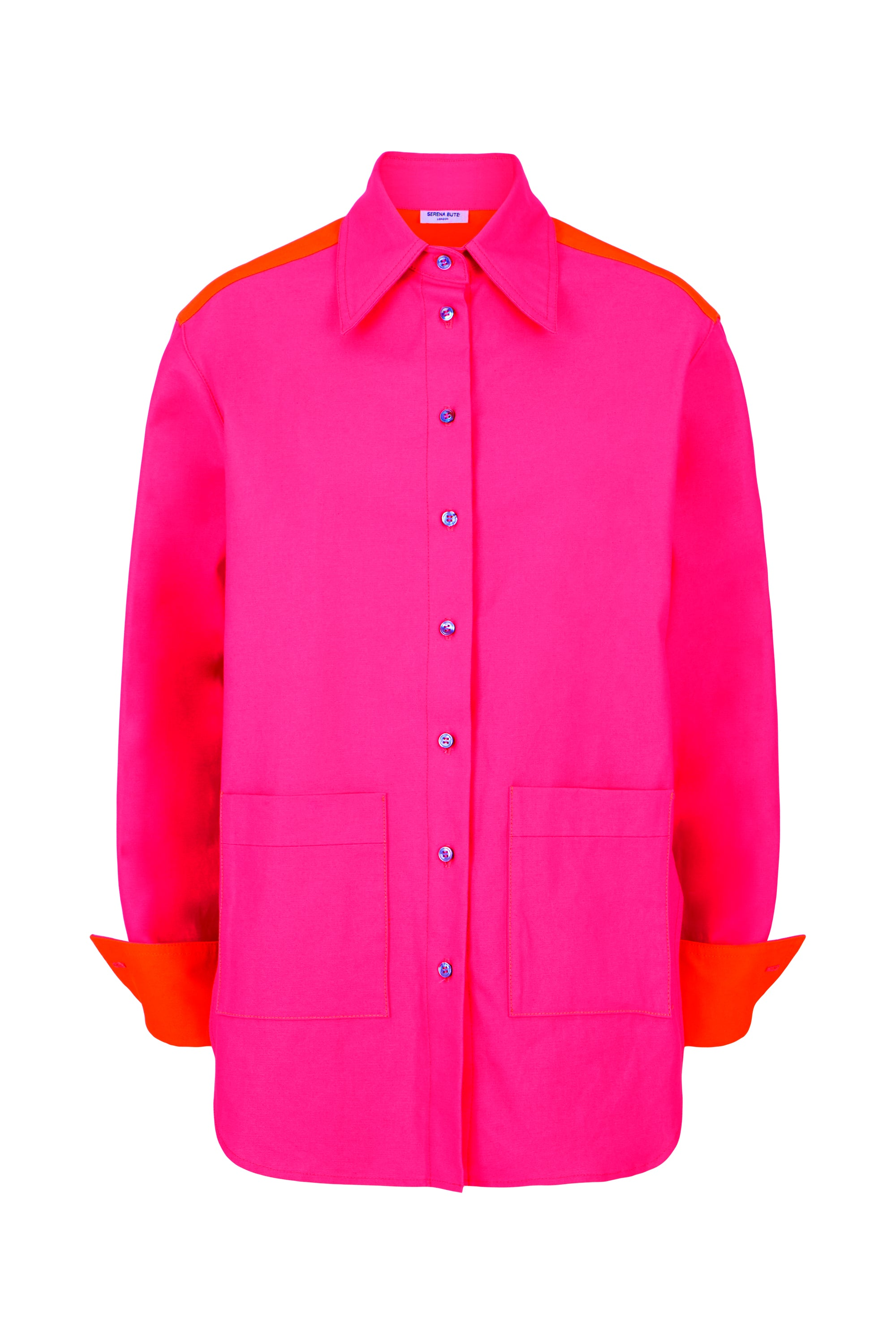 The Oversized Shirt - Pink & Orange Cotton - SERENA BUTE