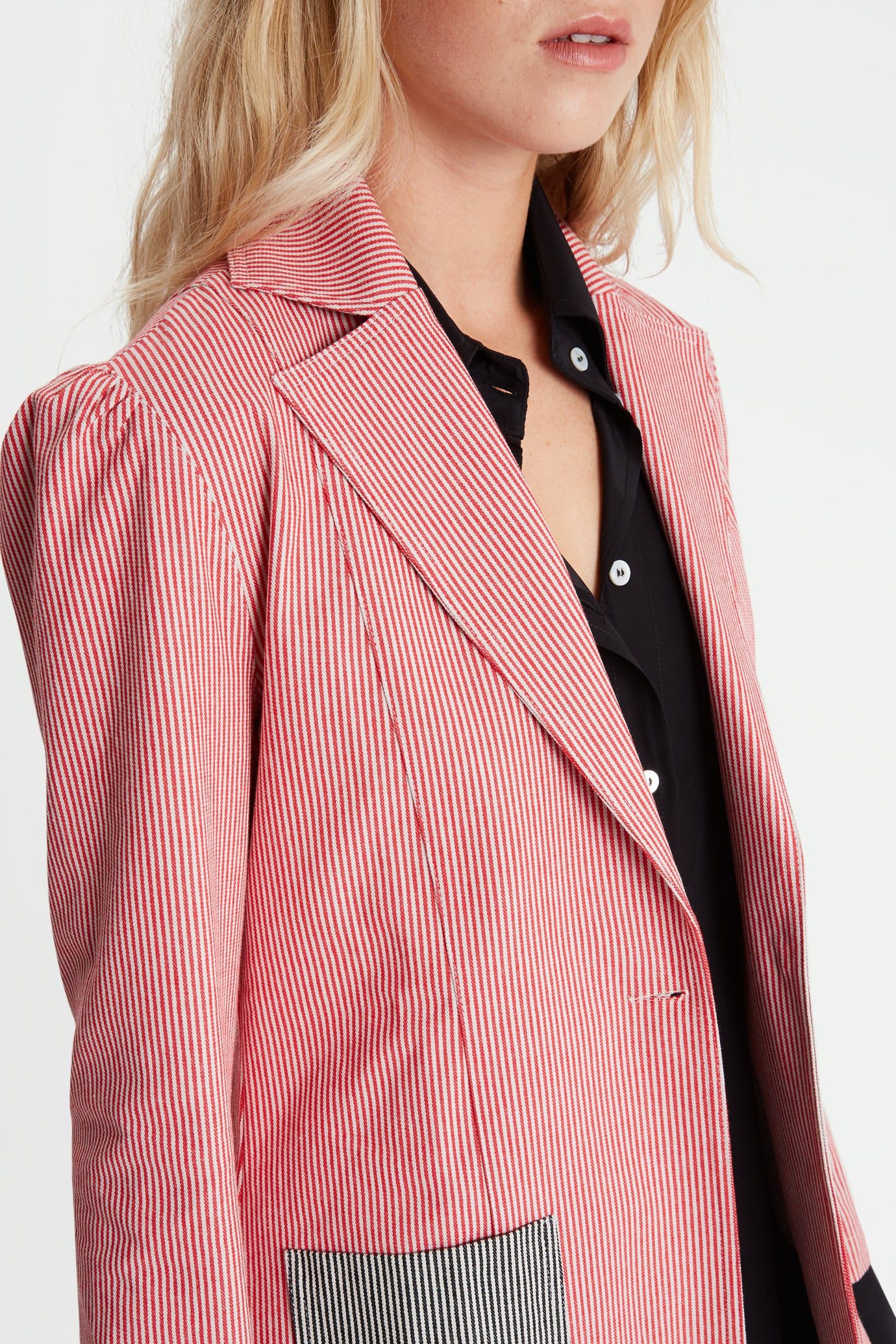 The Serena Suit Blazer - Red & Black Candy Stripes Cotton - SERENA BUTE