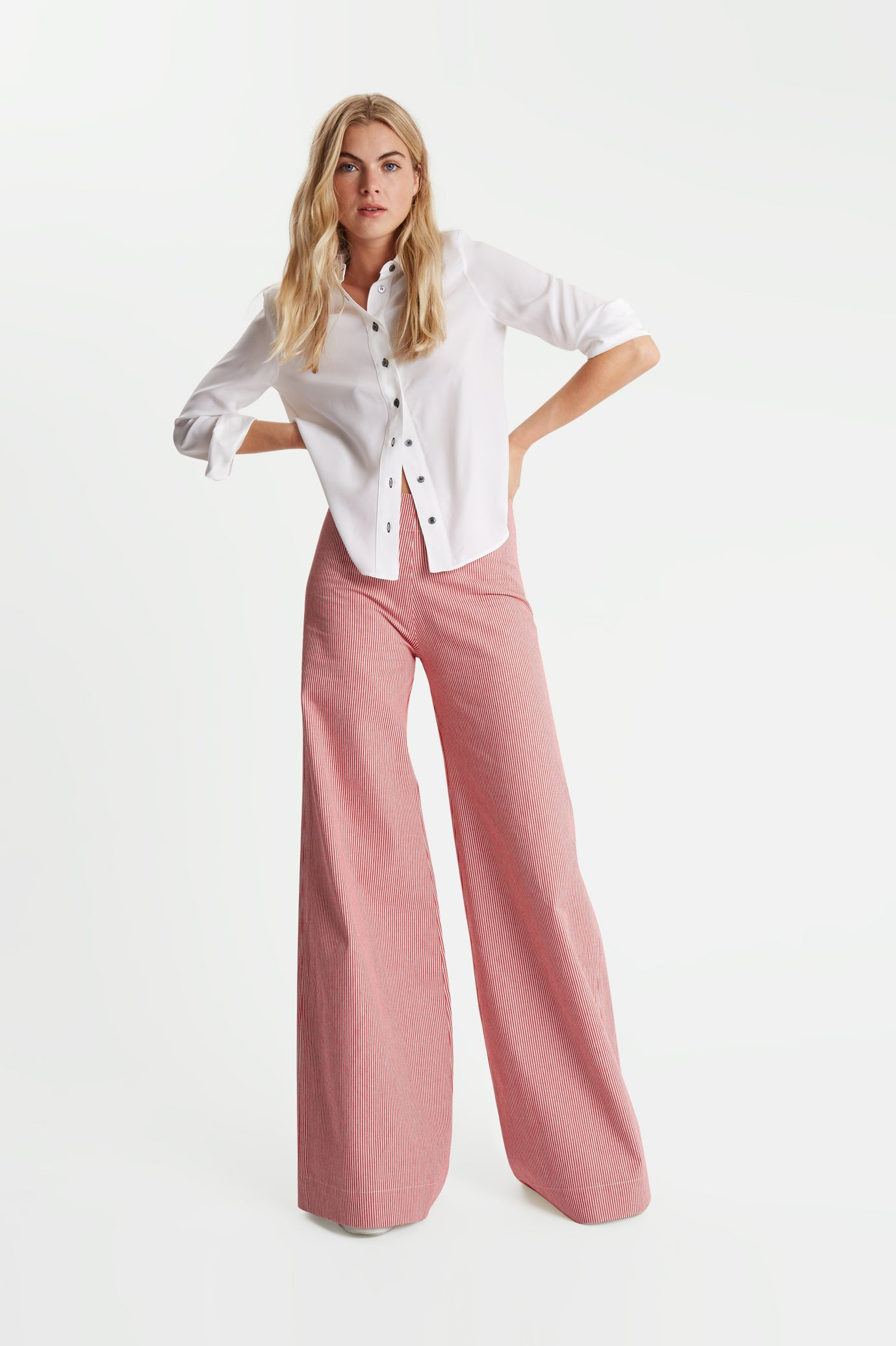 The Flare Trousers - Red & Black Candy Stripe Cotton - SERENA BUTE