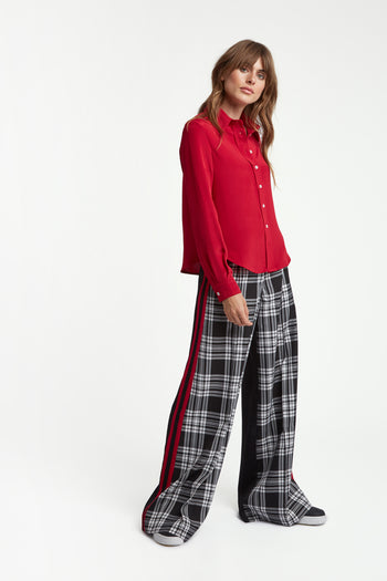 The Serena Trouser - Black, White & Poppy Red Two Tone Silk - SERENA BUTE