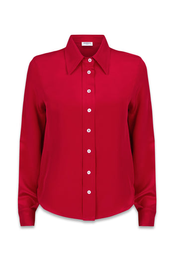 The Serena Shirt - Poppy Red Silk - SERENA BUTE
