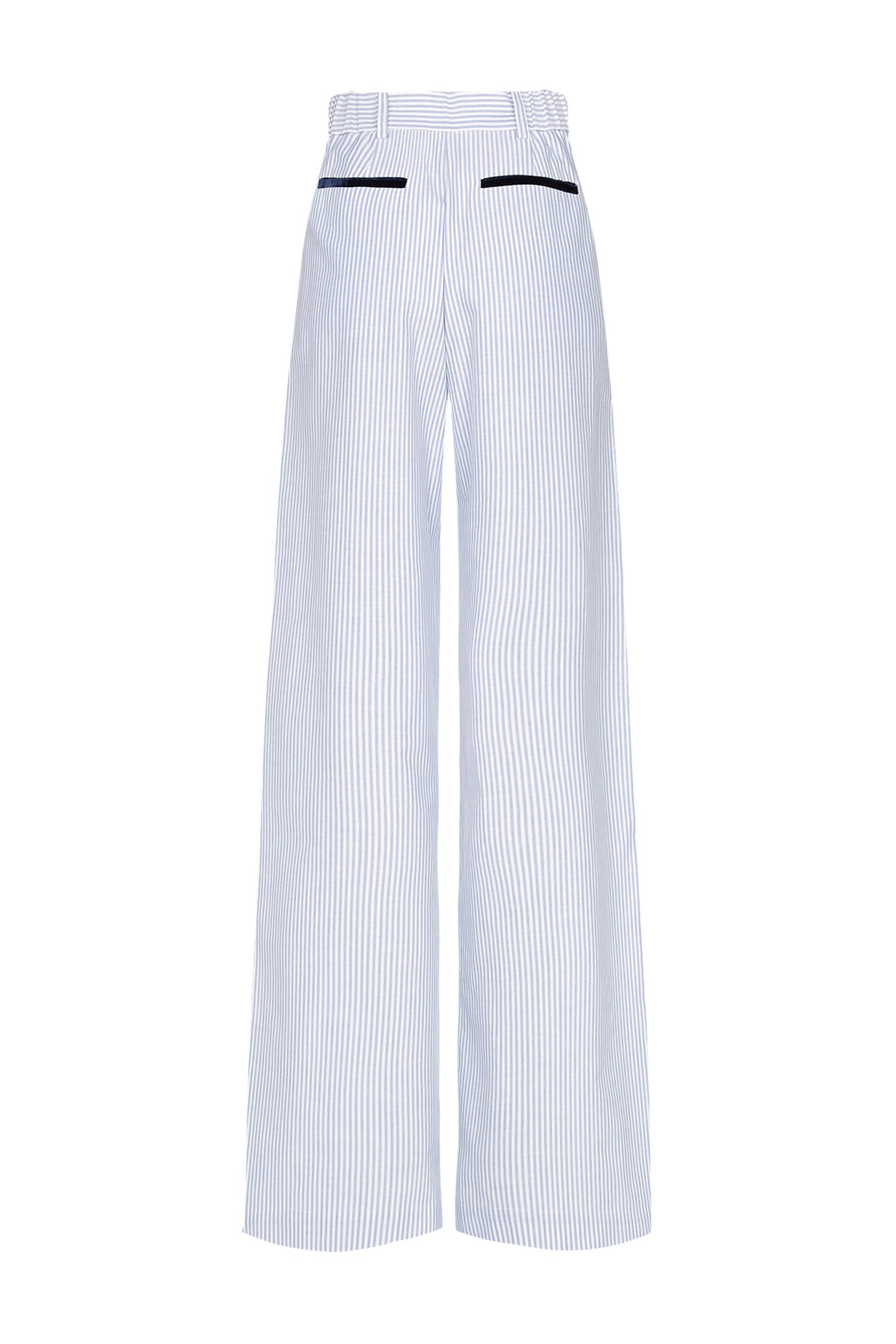 The Serena Trouser - Blue Stripe Cotton - SERENA BUTE