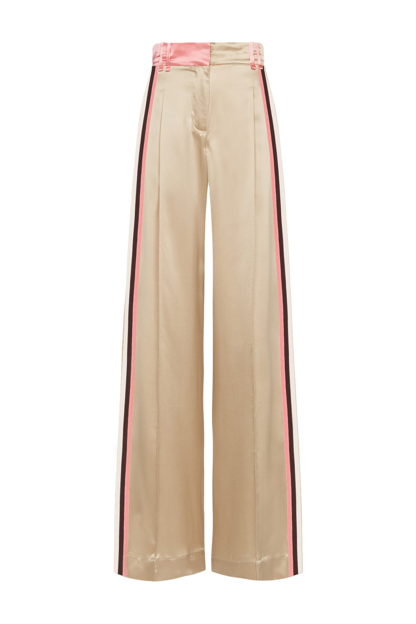 The Serena Trouser - Chinchilla Beige & Salmon Pink Silk - SERENA BUTE