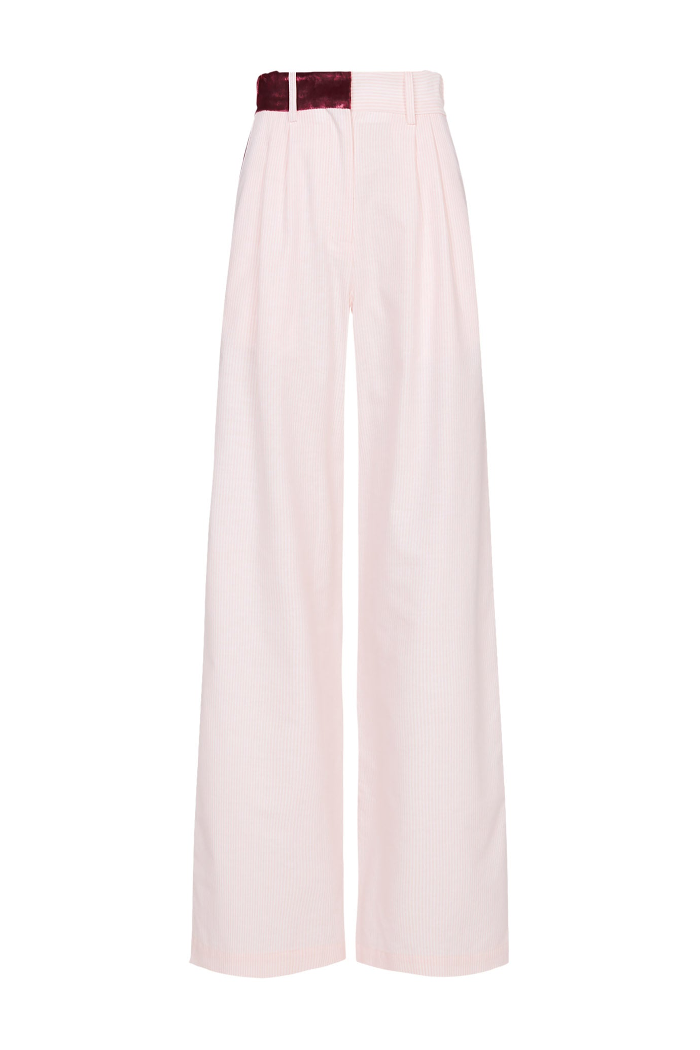 The Serena Trouser - Pale Pink Stripe Cotton - SERENA BUTE