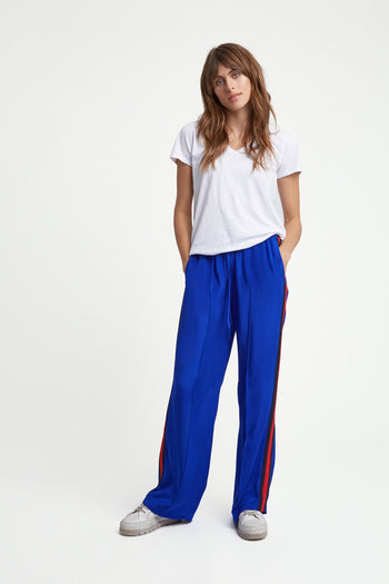 The Classic Jogger - Sapphire Blue, Navy & Poppy Red Silk - SERENA BUTE