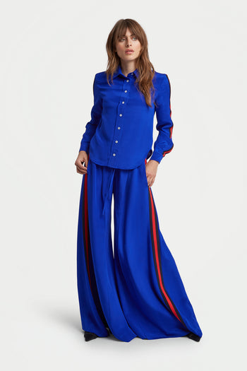 The Extra Wide Jogger - Sapphire, Navy & Poppy Red Silk - SERENA BUTE