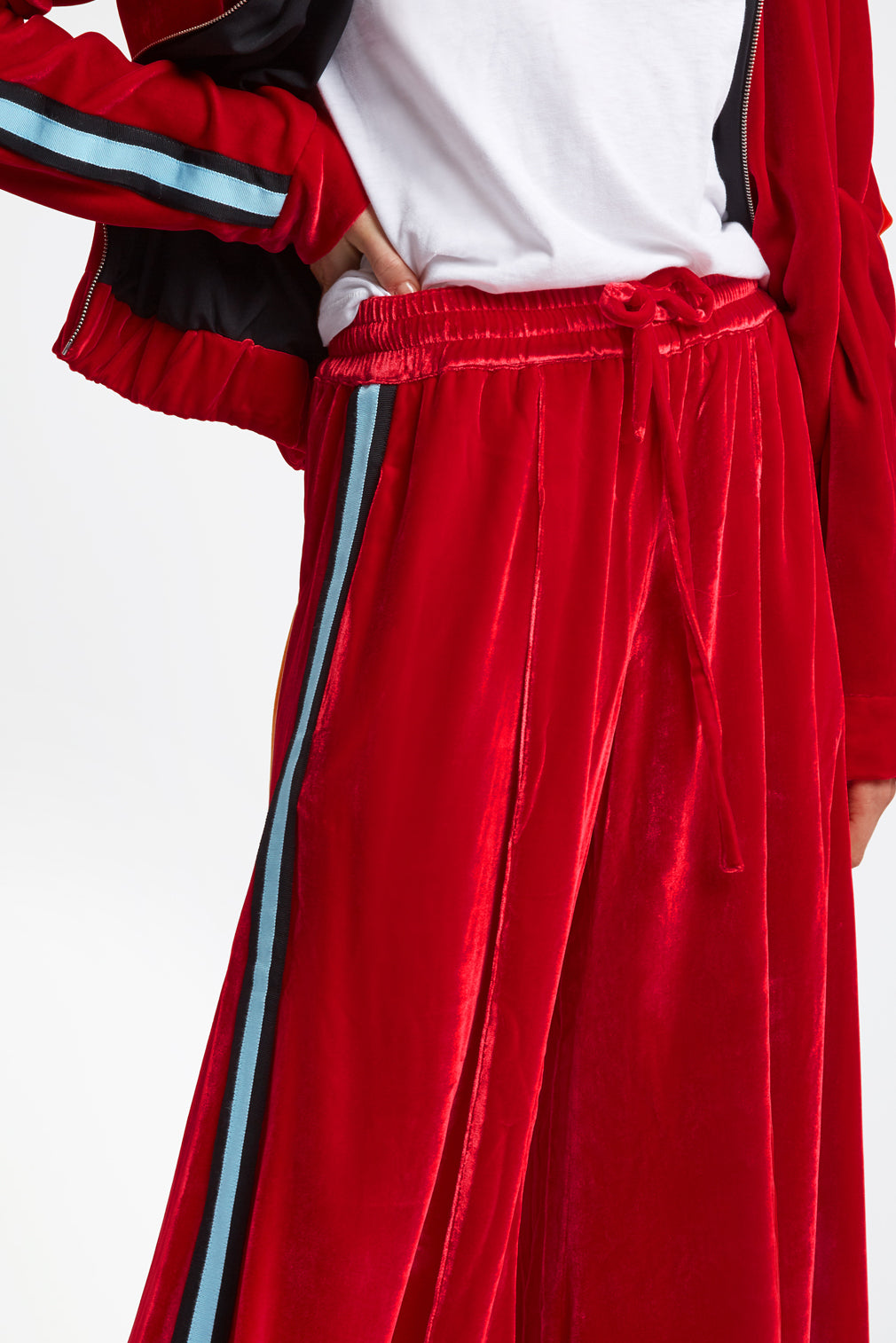 The Extra Wide Jogger - Scarlett Red, Black & Sky Blue Velvet - SERENA BUTE