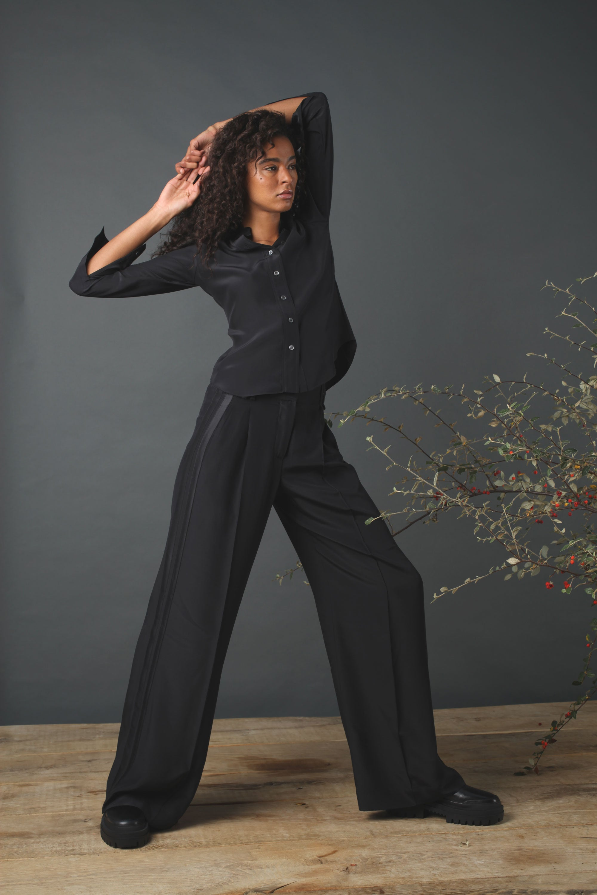 The Serena Wide Leg Trouser - Black Silk