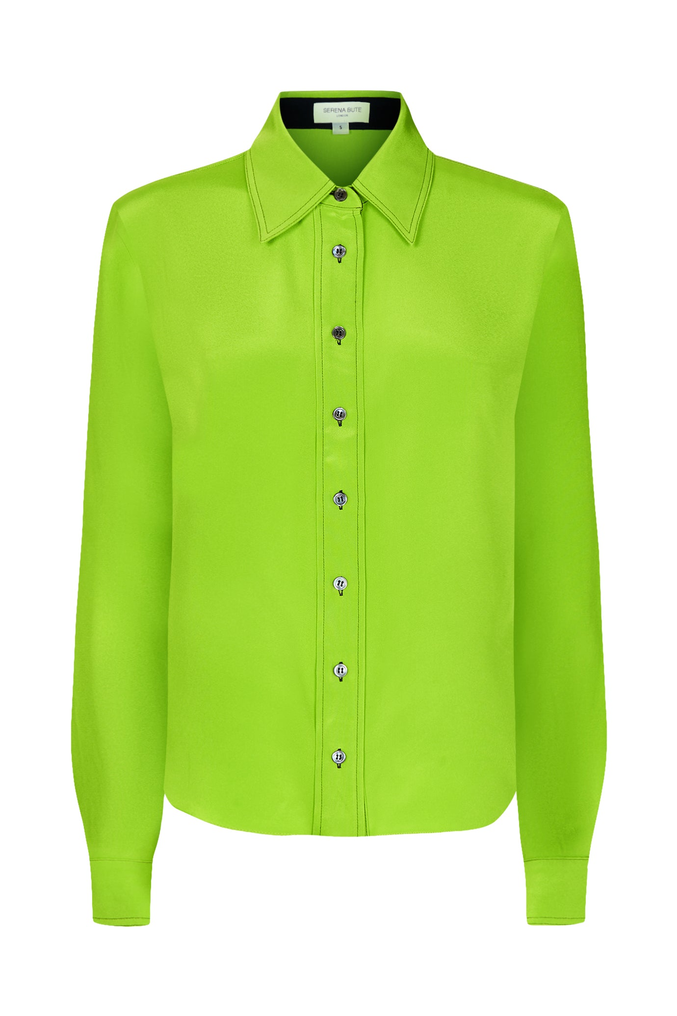 Serena Fitted Shirt Grasshopper Green Silk