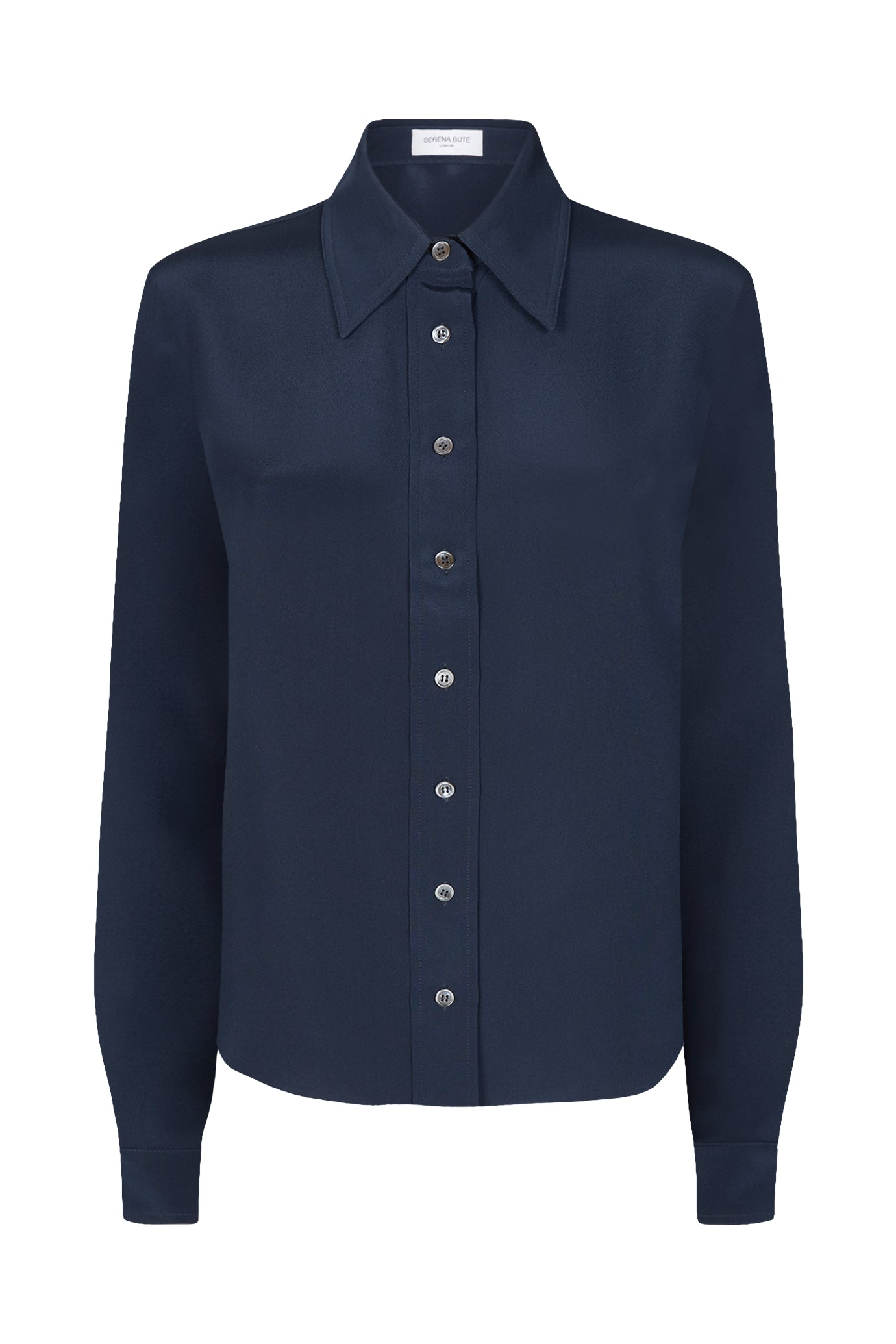 Serena Fitted Shirt Meridian Navy Silk
