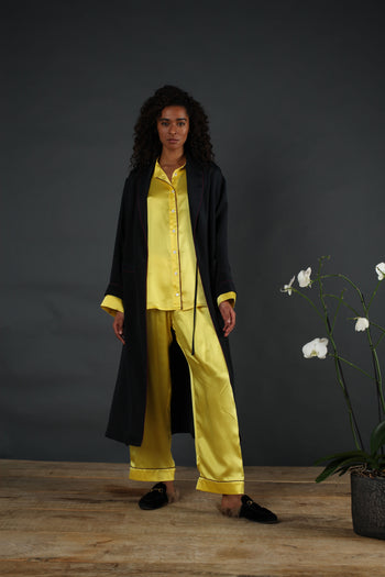 Silk pyjama set yellow serena bute