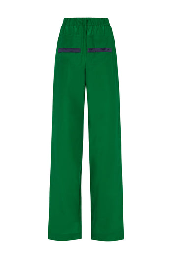 The Tailored Jogger - Emerald Green & Navy Silk - SERENA BUTE
