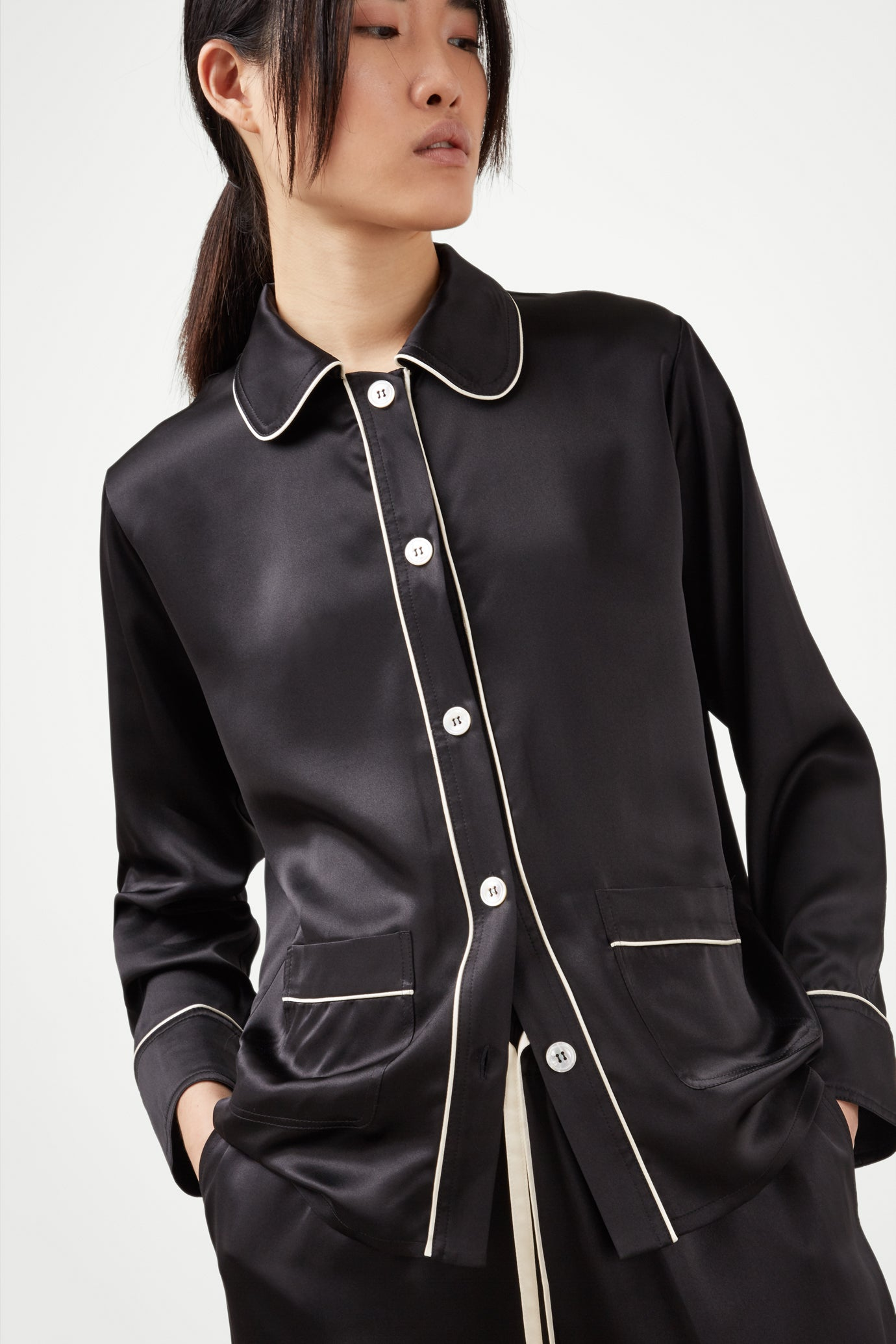 The Piped Shirt - Black & Ivory Silk - SERENA BUTE