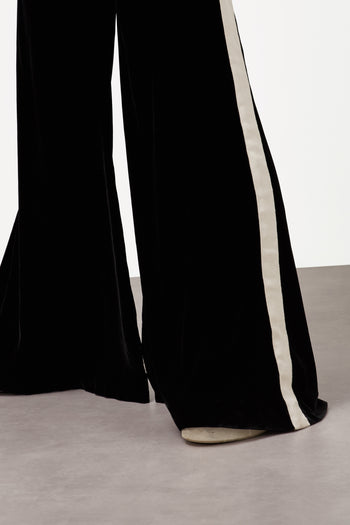 The Flare Trousers - Black & Ivory Cream Stretch Velvet - SERENA BUTE