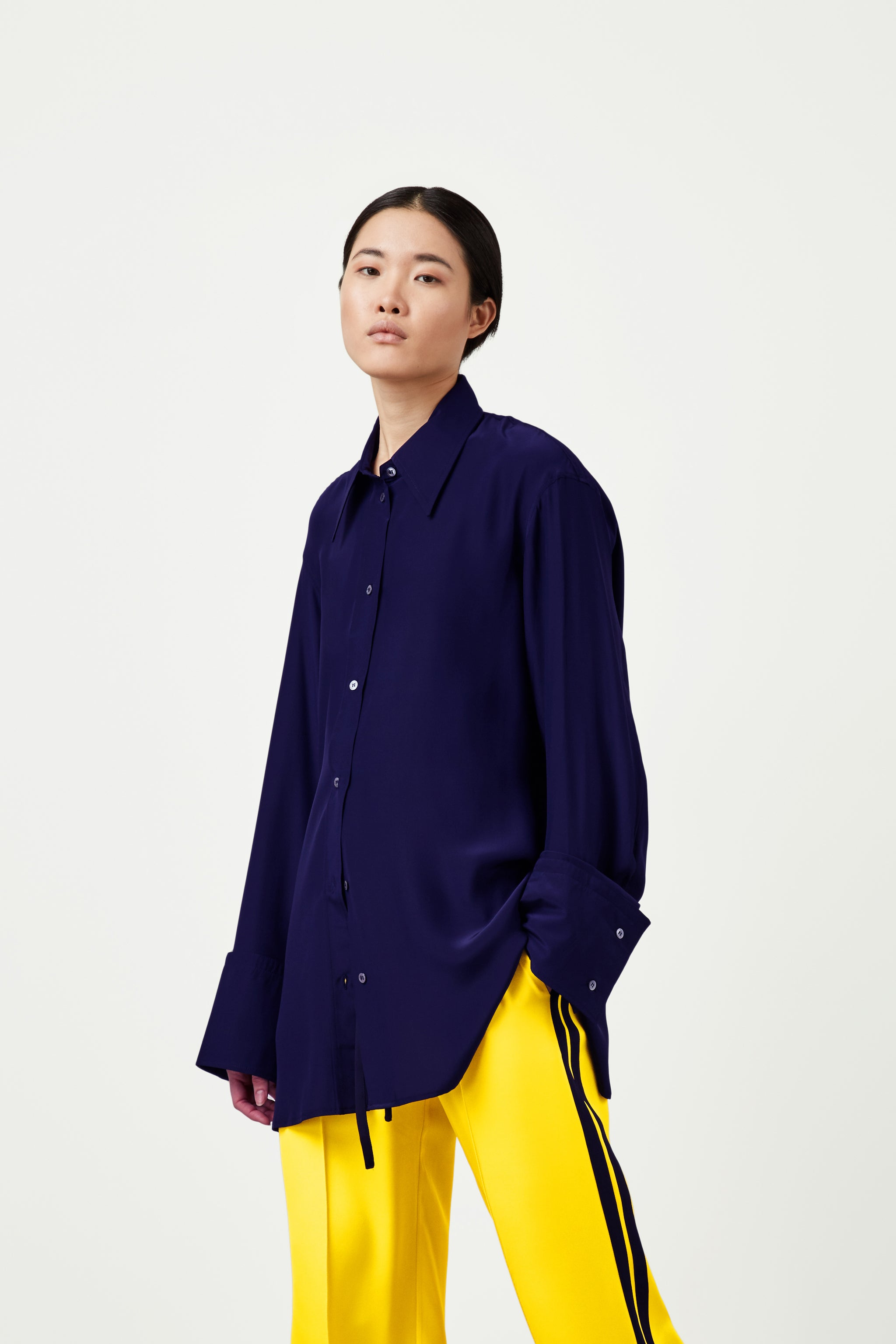 The Extra Oversized Shirt - Navy Silk - SERENA BUTE