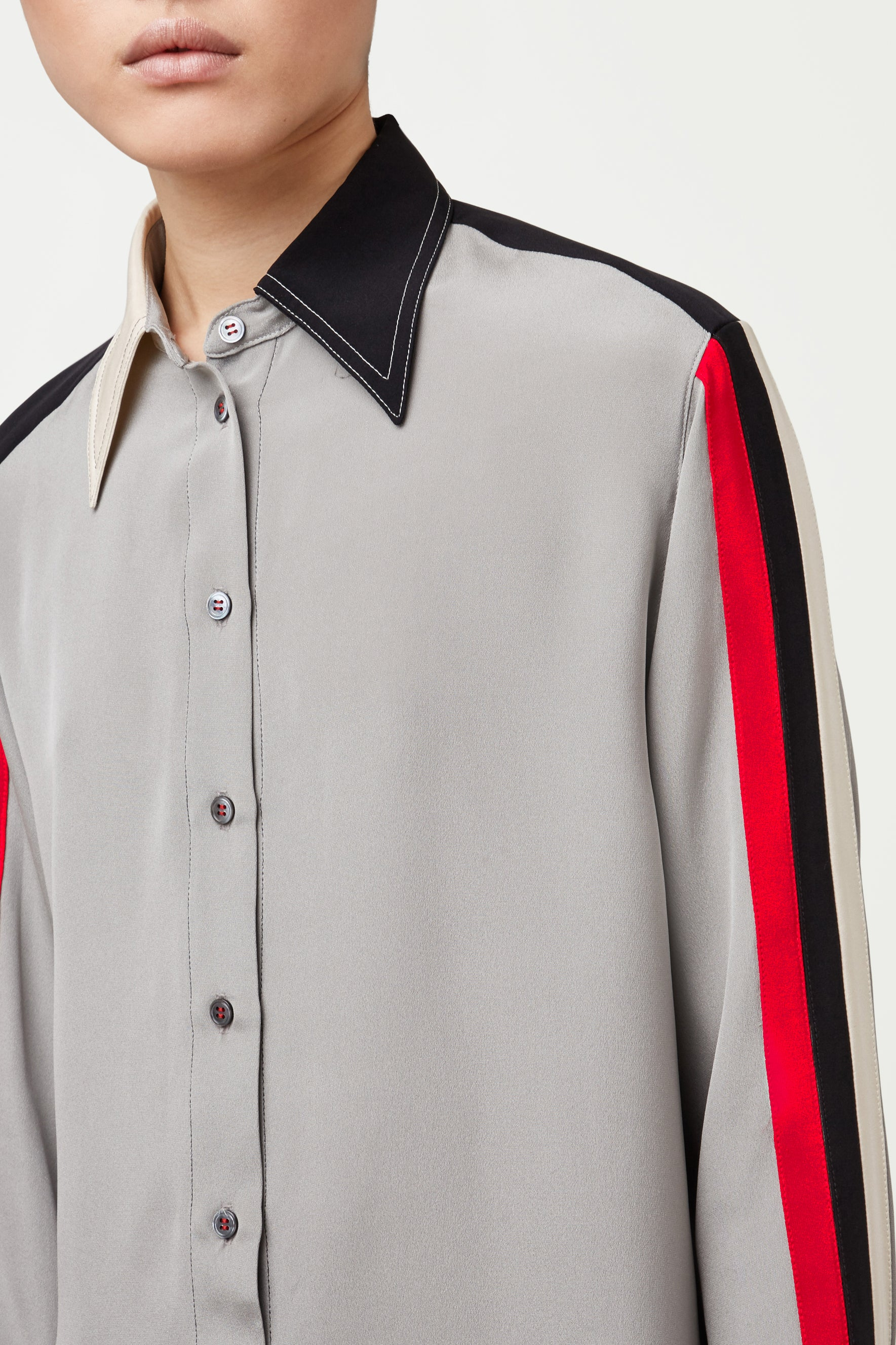 The Oversized Shirt - Steel, Black, White & Red Silk - SERENA BUTE