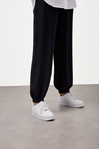 The Classic Jogger Gathered - Navy & Black Silk - SERENA BUTE