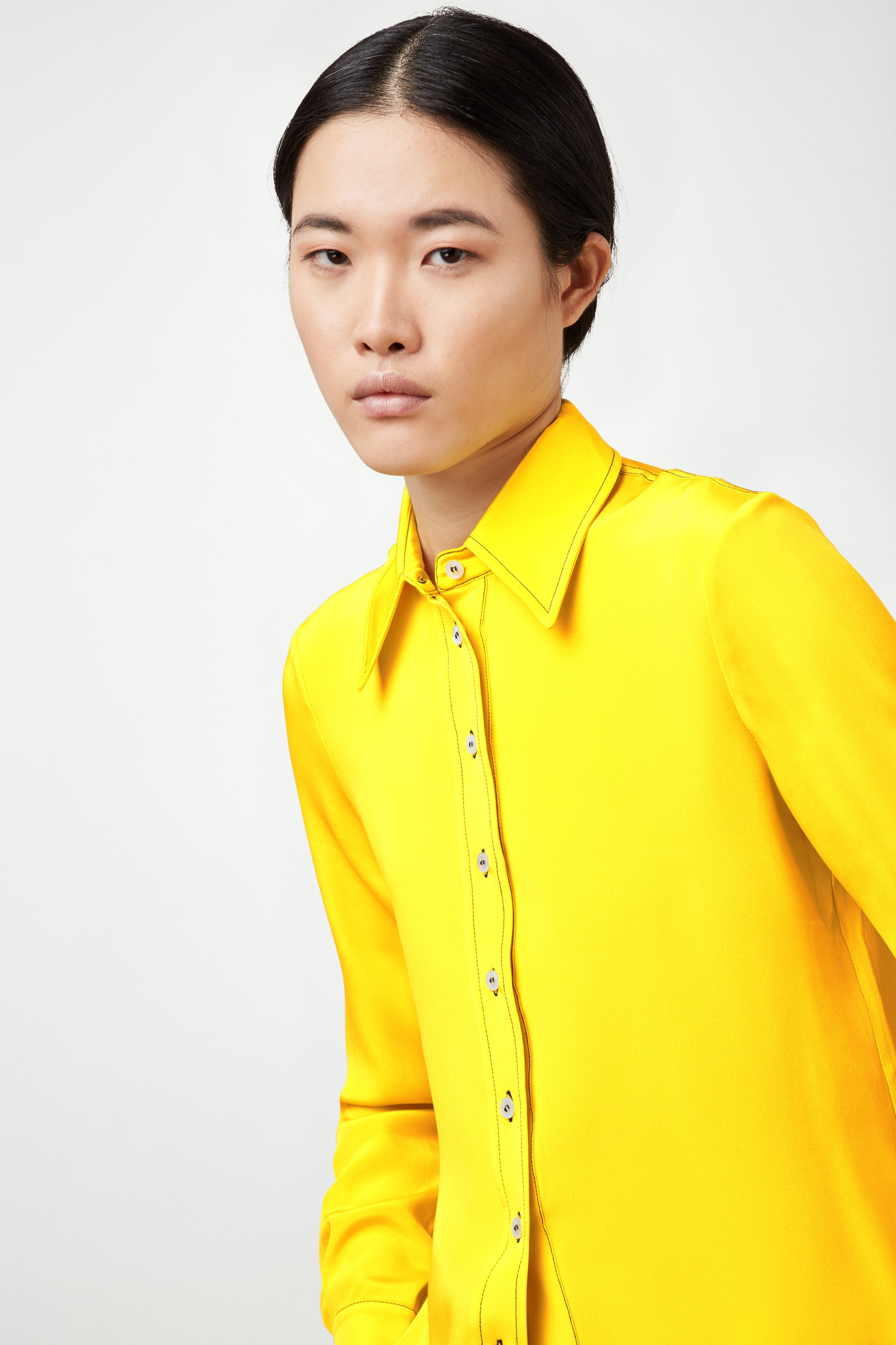 The Serena Shirt - Daffodil Yellow Silk