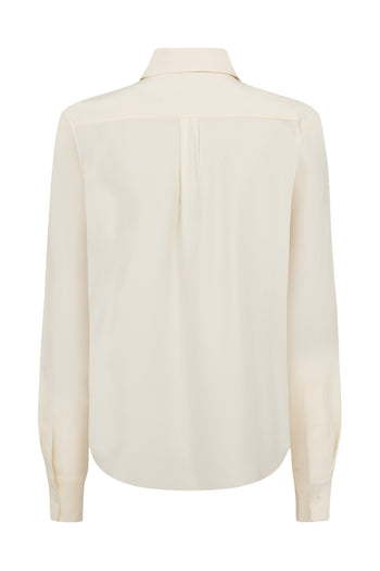 Two Tone Tailored Shirt - Ivory Cream & White Silk - SERENA BUTE