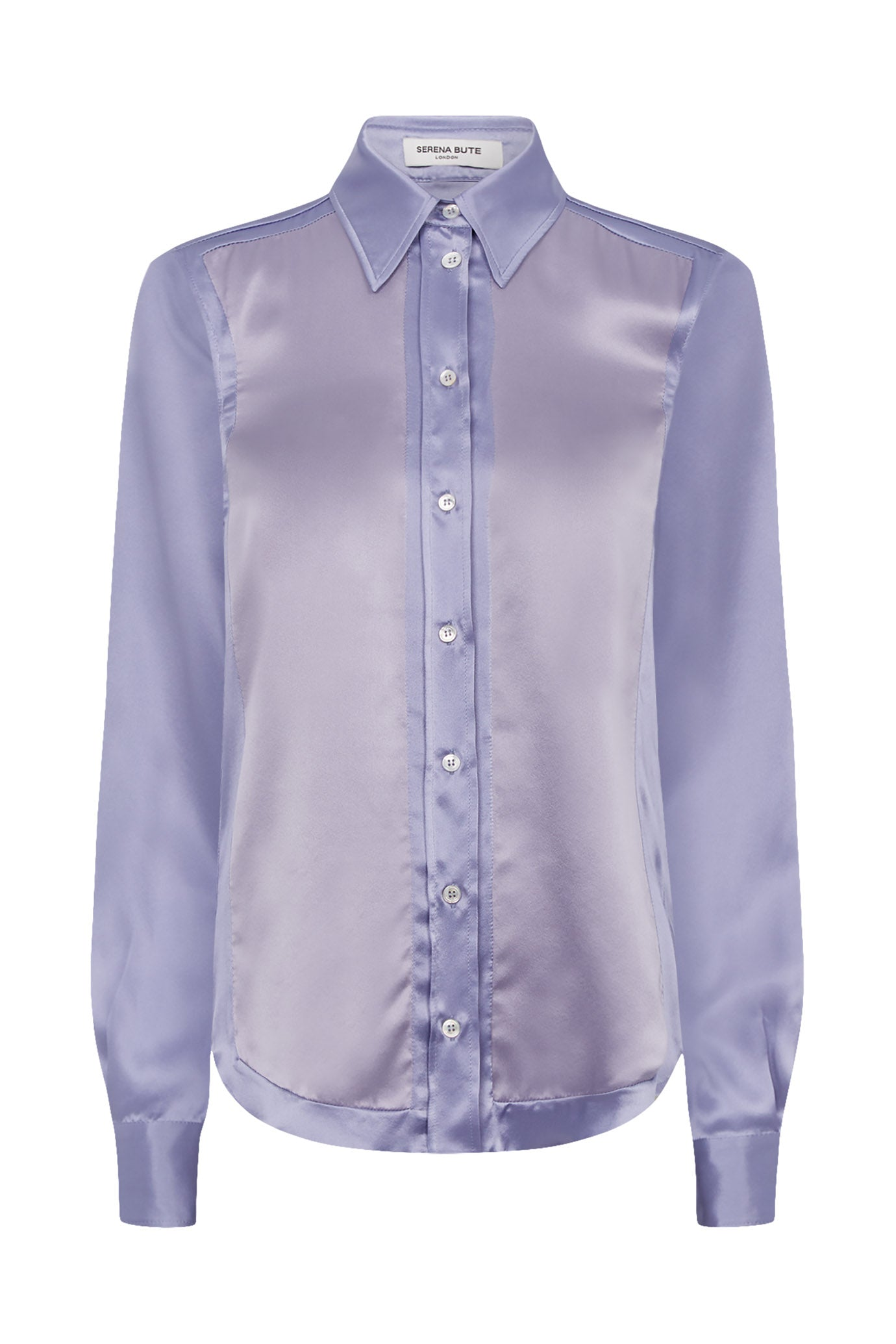Two Tone Tailored Shirt - Lavender & Silver Silk - SERENA BUTE