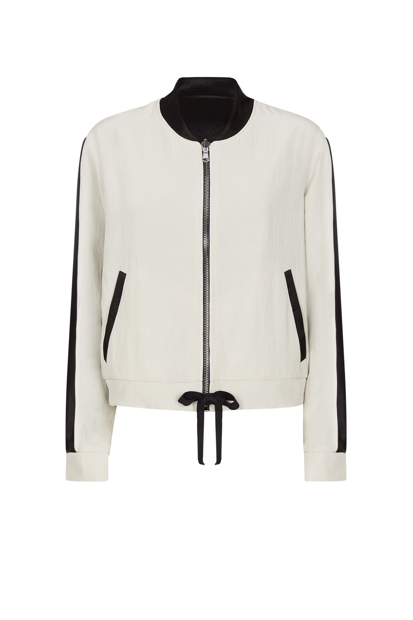 The reversible cropped bomber black stone natural fabric serena bute