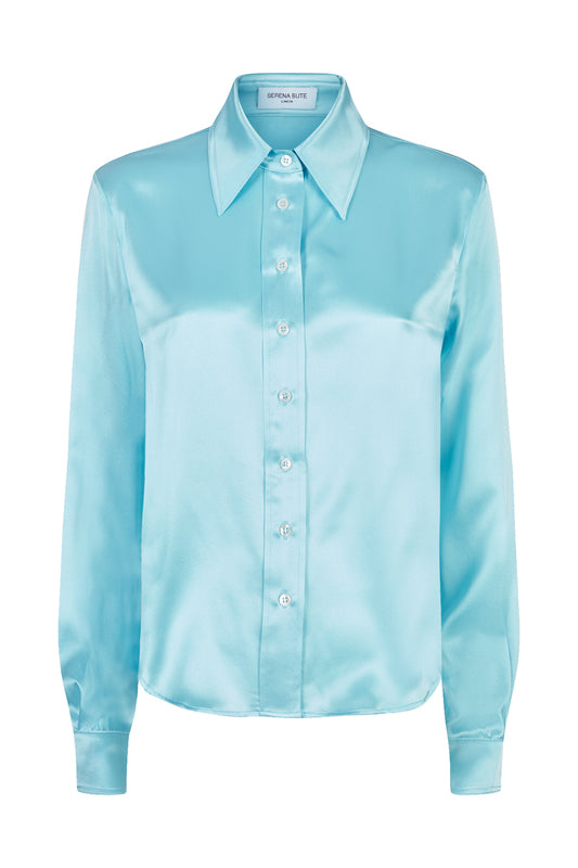 The serena fitted shirt aqua silk
