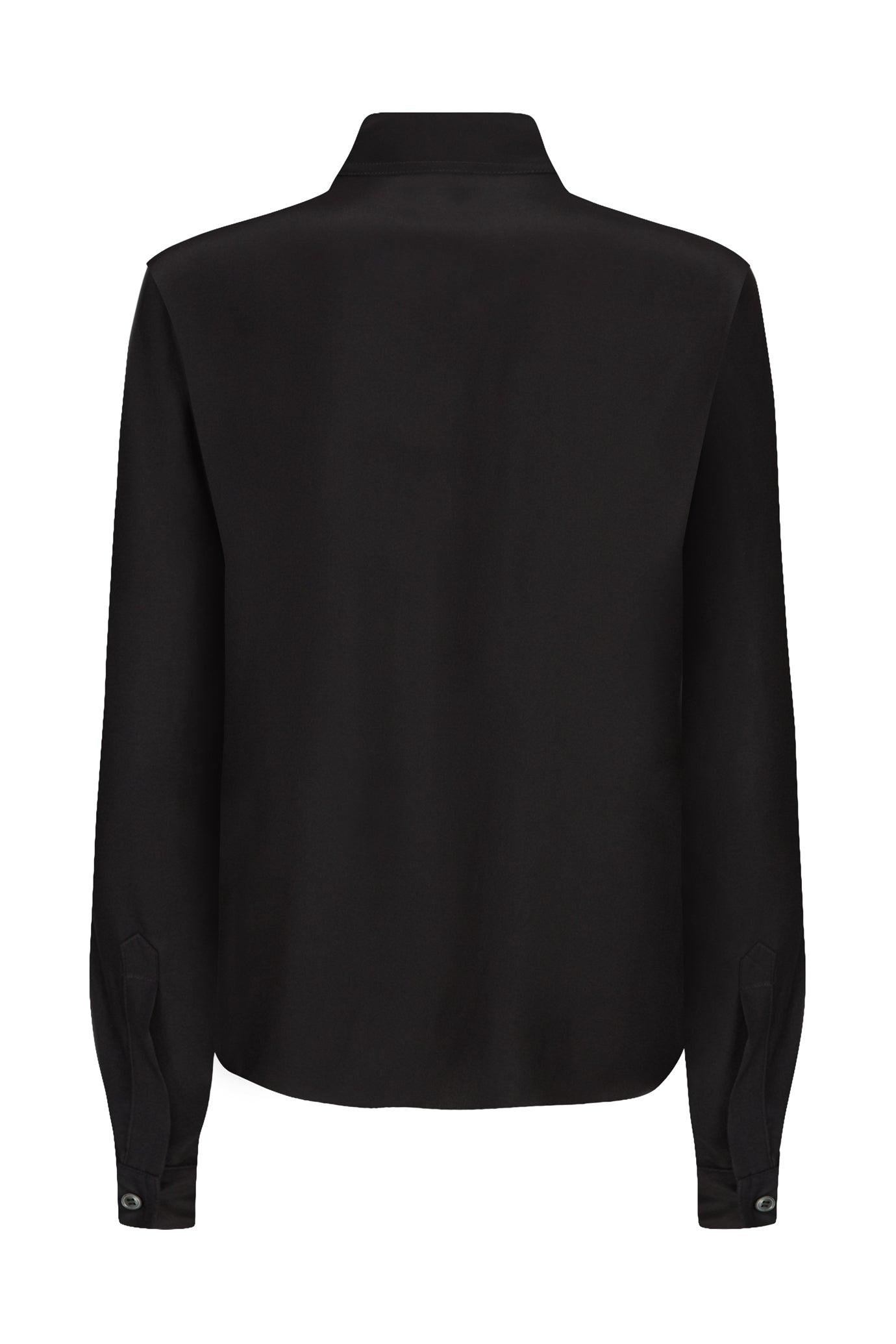 The Serena Fitted Shirt - Black Matte Silk