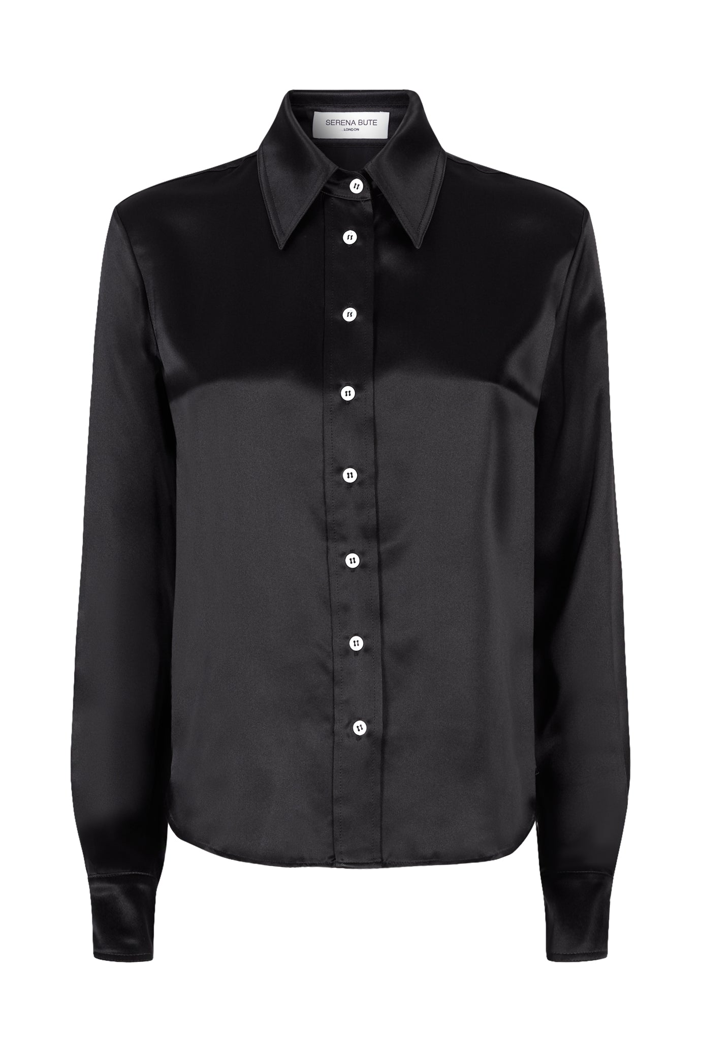 The Serena Fitted Shirt - Black Satin Silk