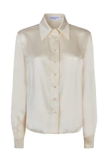 The Serena Fitted Shirt - Blush Silk