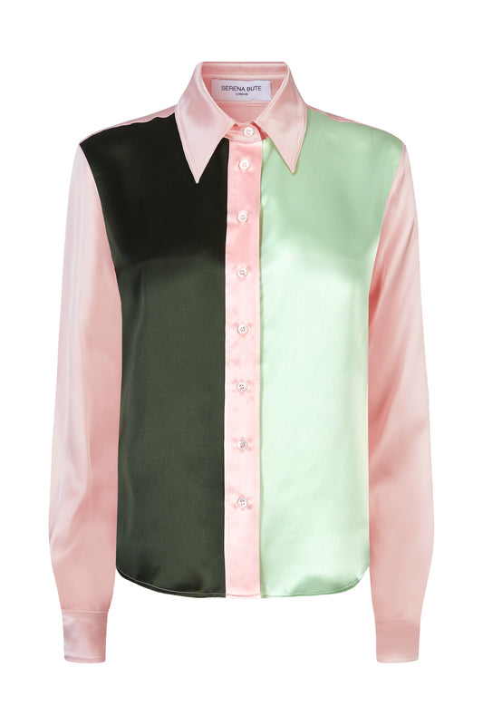 the serena fitted shirt dusky pink moss and mint silk