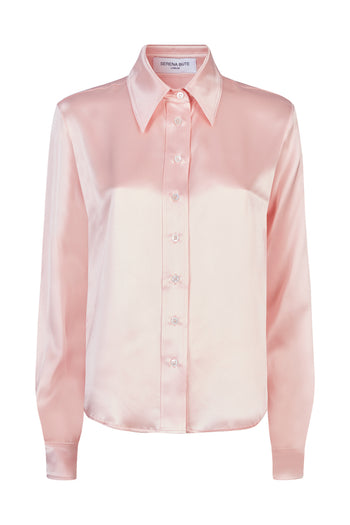 The serena fitted shirt dusky pink silk