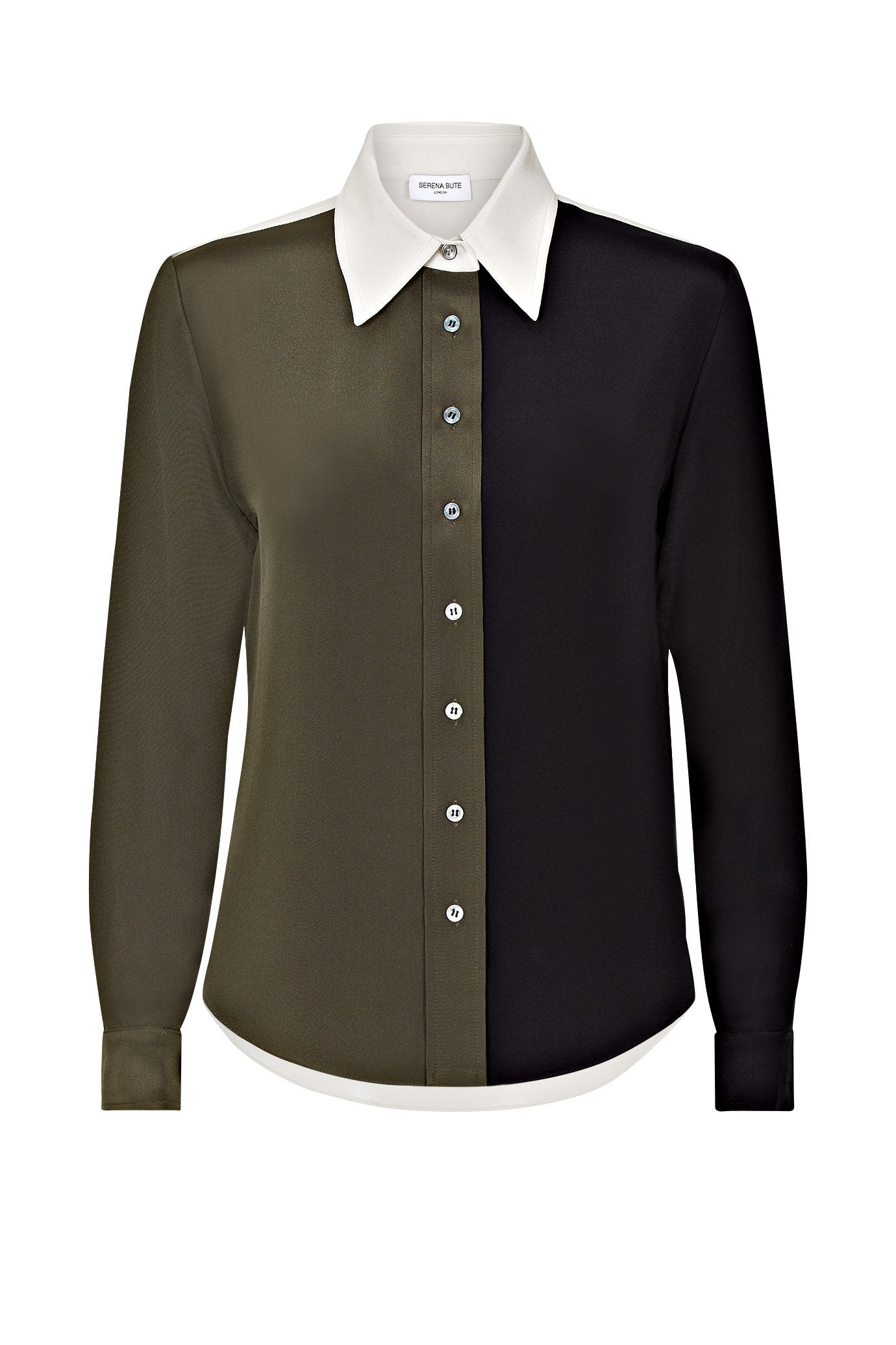 the serena fitted shirt khaki dark navy and taupe silk