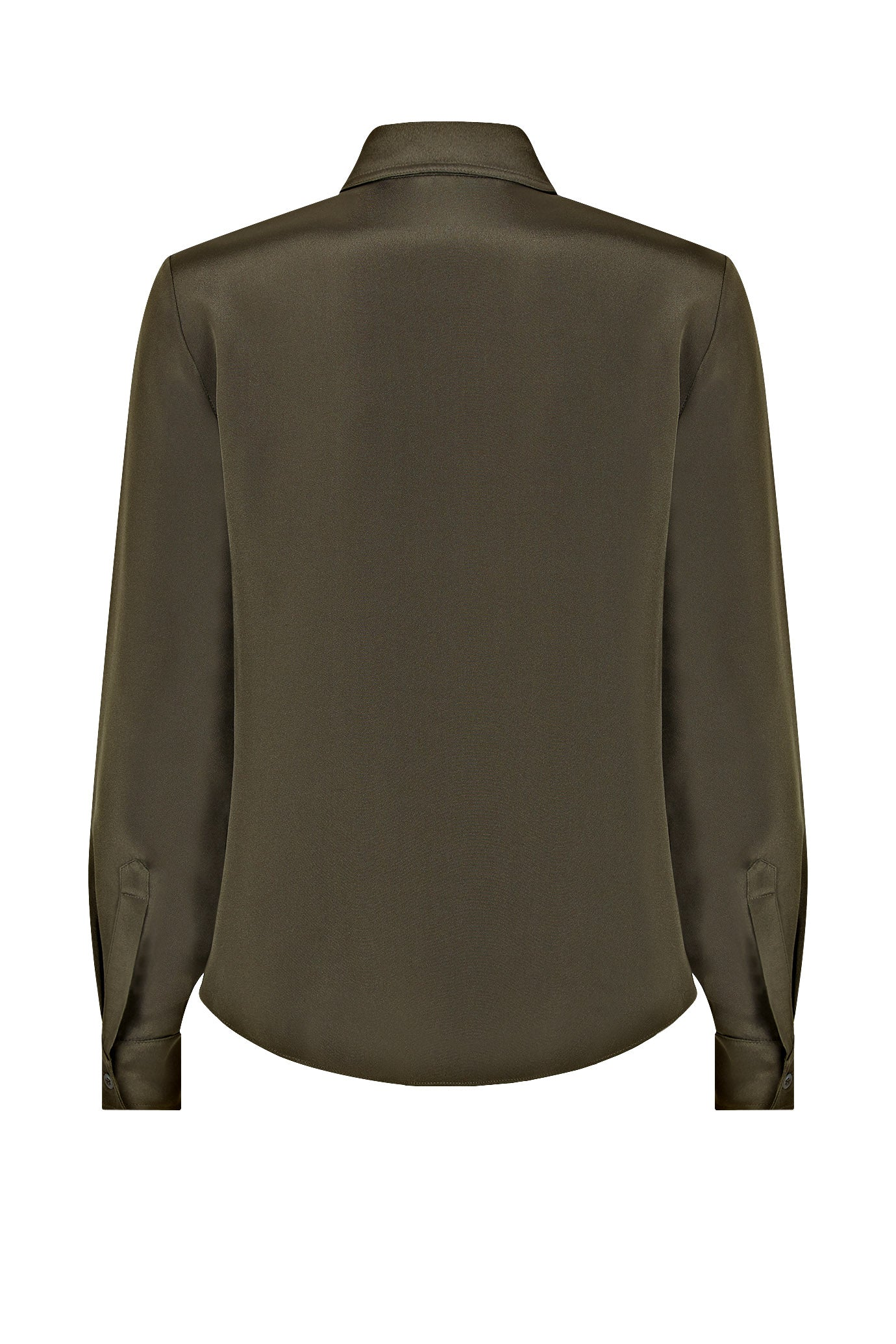 The Serena Fitted Shirt - Khaki Silk