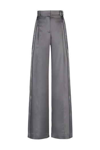 the serena wide leg trouser graphite and navy silk