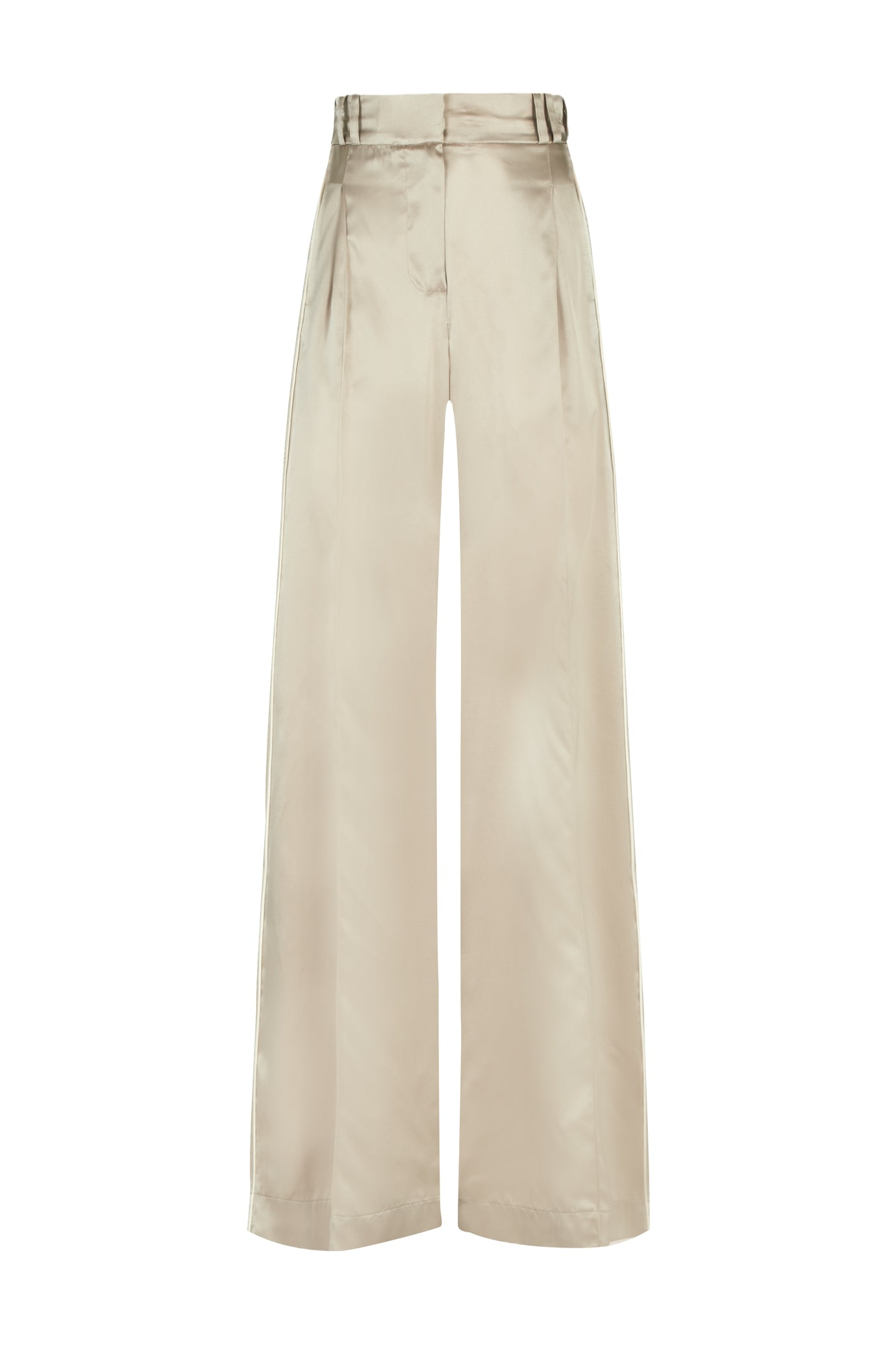 the serena wide leg trouser oyster and blush silk