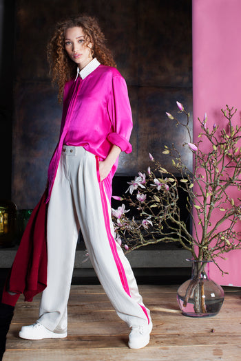 The boyfriend wide leg trouser stone pink natural fabric by Serena Bute