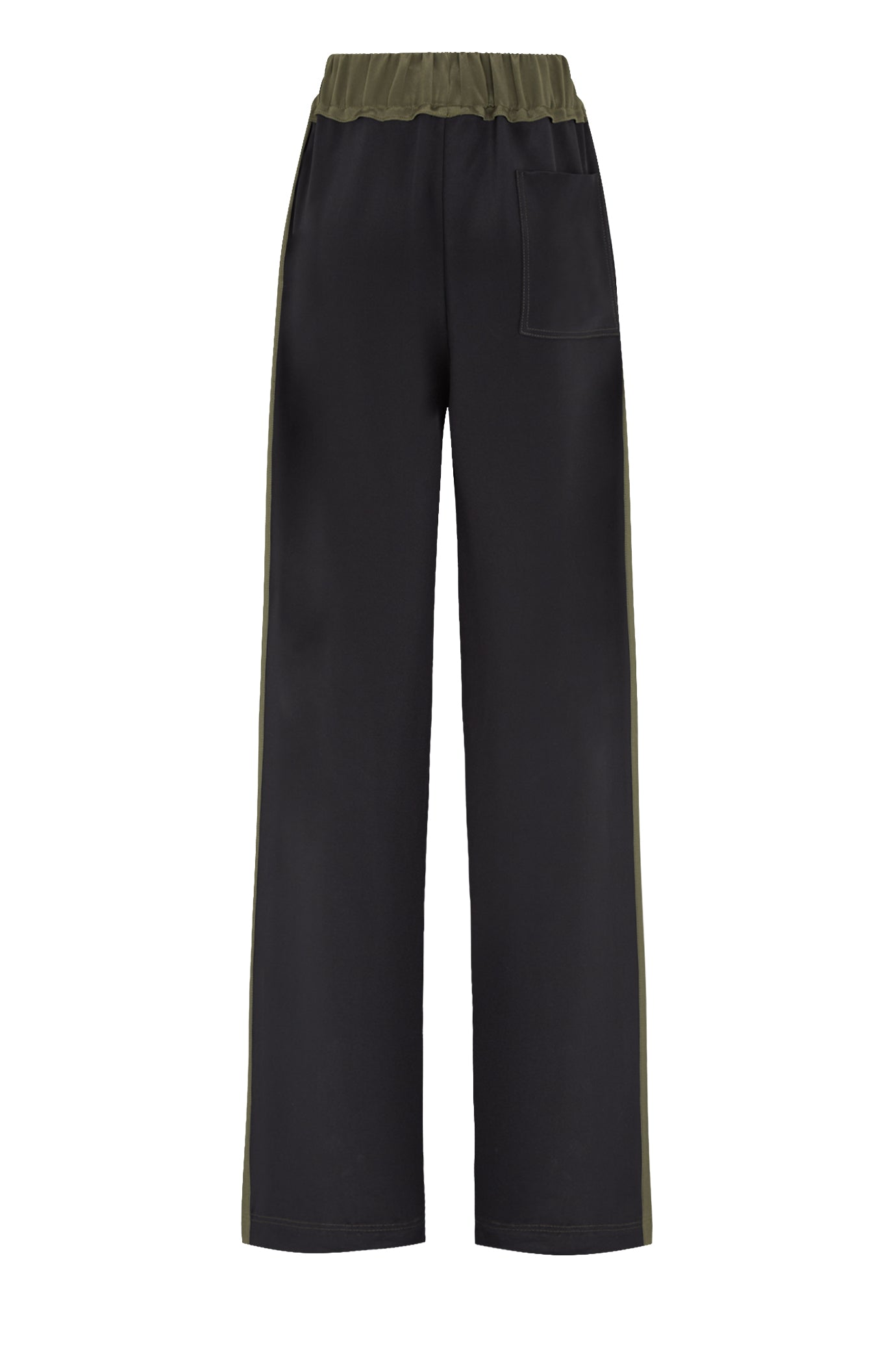 The Classic Wide Leg Jogger - Dark Navy & Khaki Silk