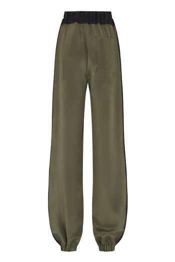 The Classic Wide Leg Jogger Gathered - Khaki & Dark Navy Silk