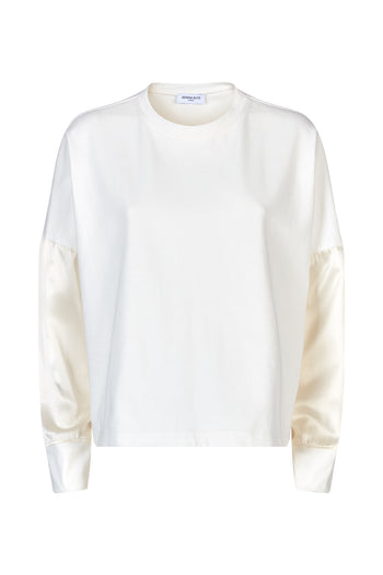 The long sleeve tshirt white cotton and blush silk