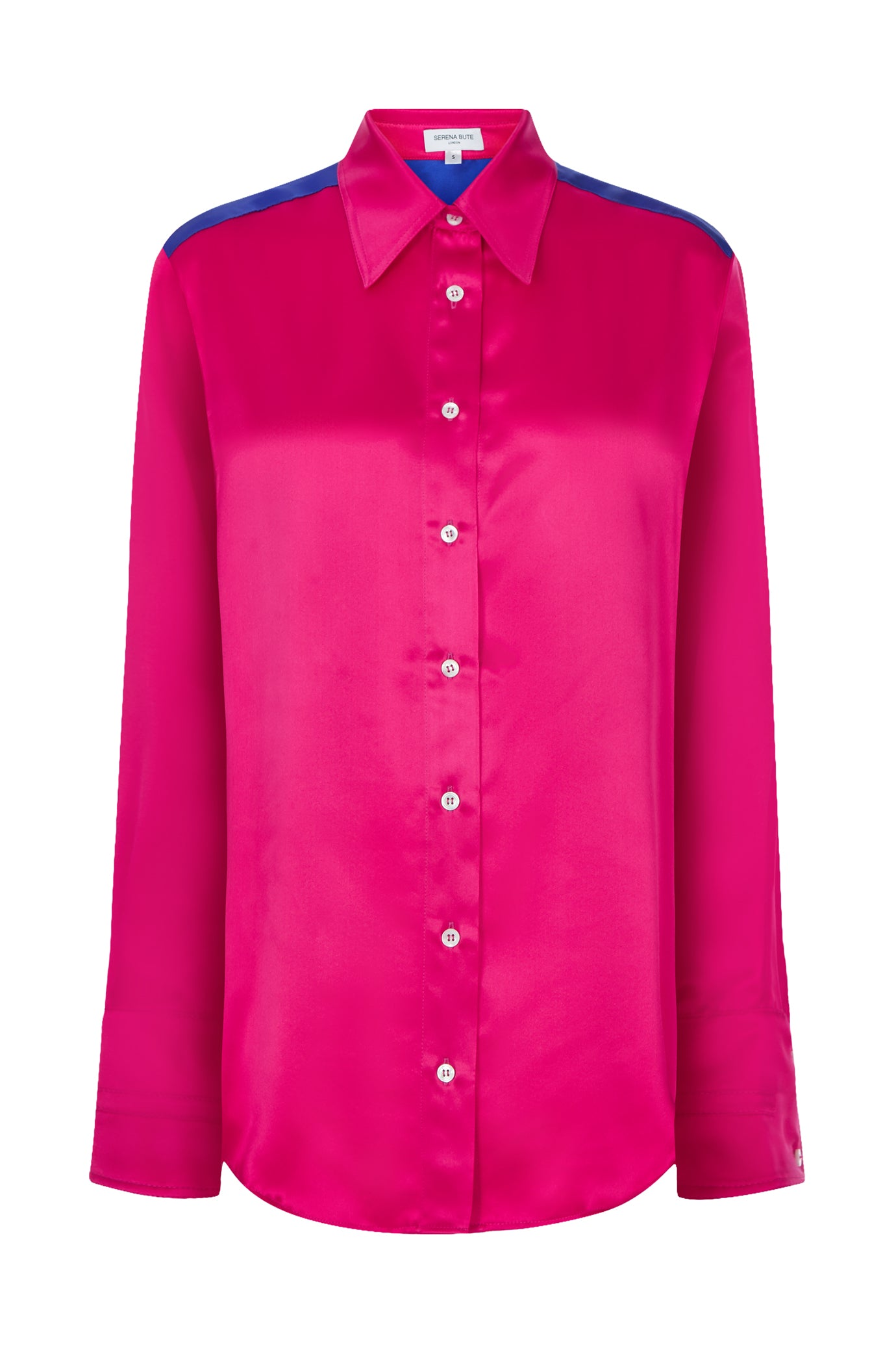 The oversized shirt sapphire and pink silk