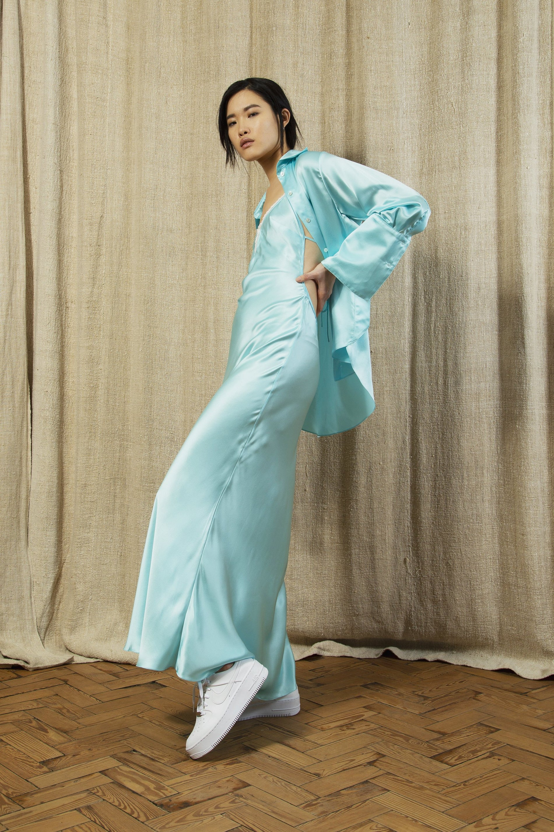 the slip dress aqua silk