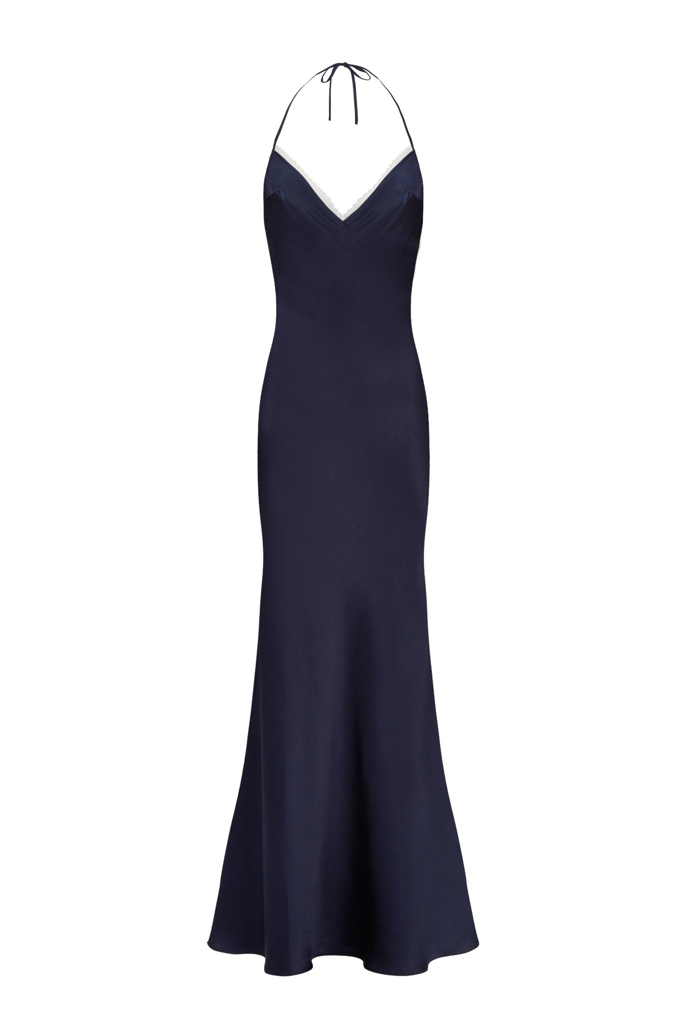 The slip dress navy silk