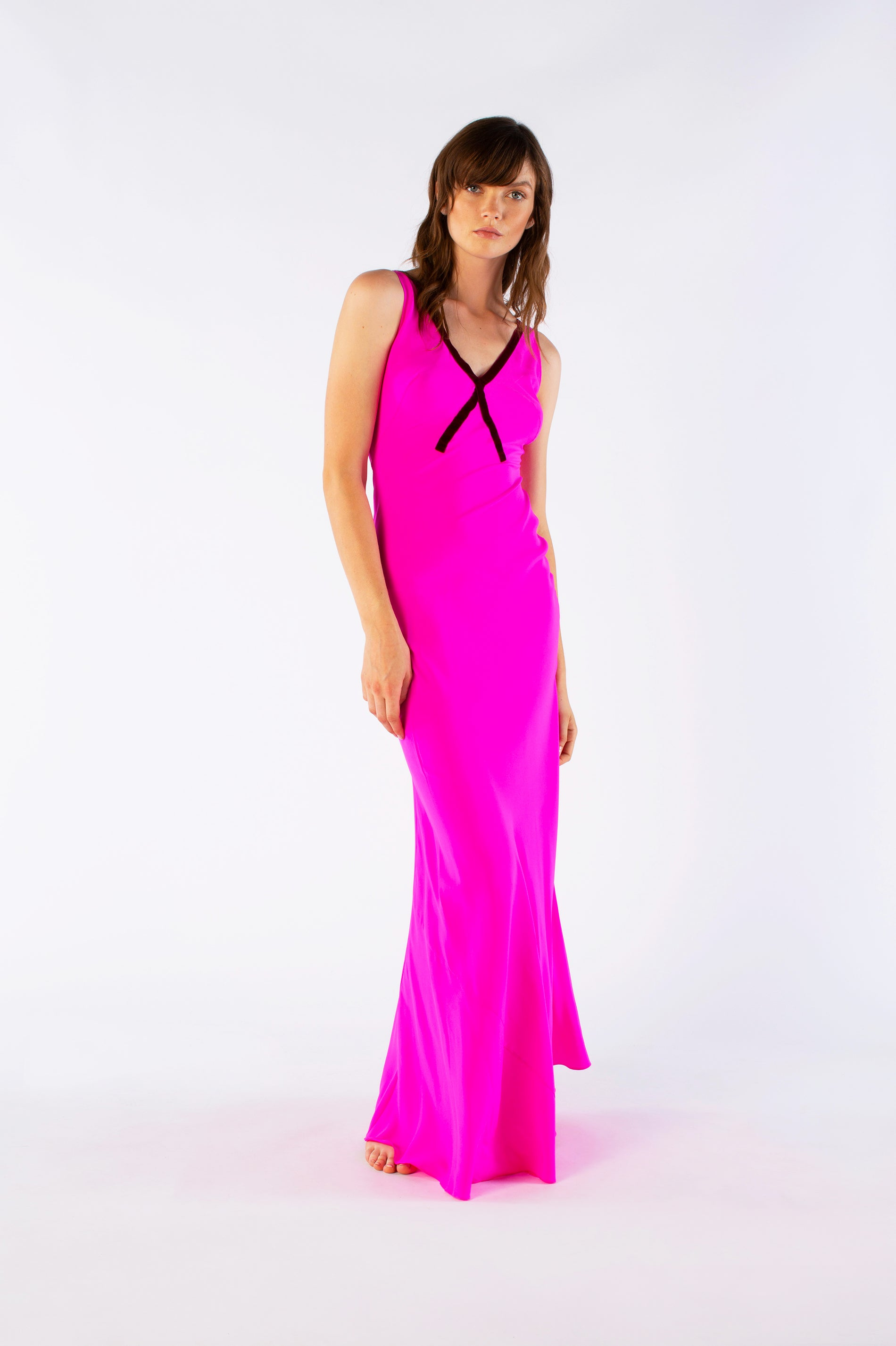 the v neck dress shocking pink silk