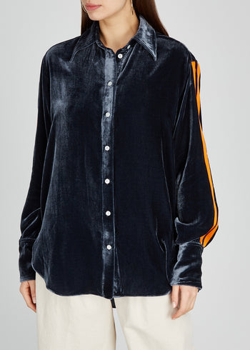 The Oversized Shirt - Gunmetal Grey & Orange Velvet