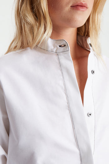 The Collarless Shirt - White Cotton - SERENA BUTE